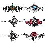 Pinkiou Temporäre Tattoos Frauen Sexy Körper Aufkleber Halskette Design für