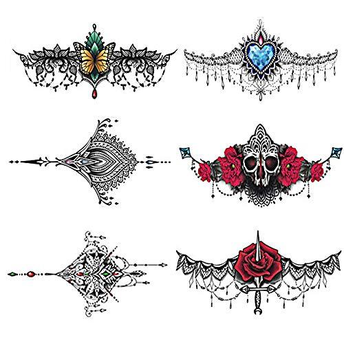 Pinkiou Temporäre Tattoos Frauen Sexy Körper Aufkleber Halskette Design für Strand Pool (6 Blatt)