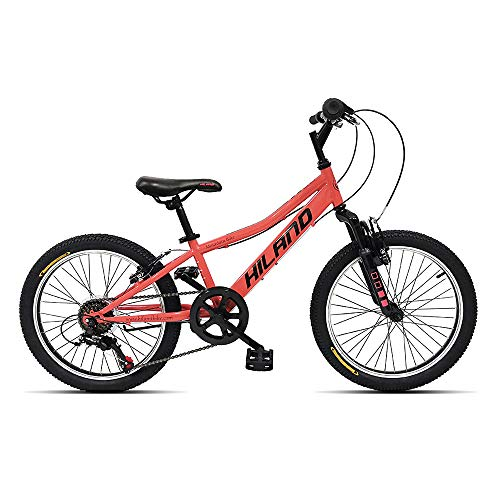 Hiland 20 Inch Kids Bike Mountain Bicycle for Ages 4 5 6 7 8 9 Years Old Boys Girls Coral Pink