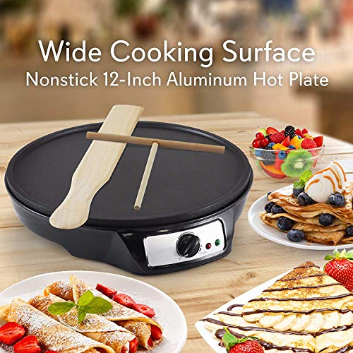 J-Jati Nonstick 12-Inch Electric Crepe Maker - Breakfast Griddle Hot Plate Cook top with Adjustable Temperature Control and LED Indicator Light, Includes Wooden Spatula and Batter Spreader.