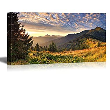 Canvas Prints Wall Art - Colorful Autumn Landscape in the Mountains at Sunrise Nature Beauty | Modern Wall Decor/ Home Decoration Stretched Gallery Canvas Wrap Giclee Print & Ready to Hang - 24  x 48
