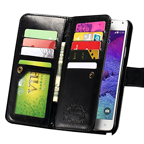 Note 4 Case, Galaxy Note 4 Case, Joopapa Galaxy Note 4 Wallet Case,Pu Leather Case Magnet Wallet Credit Card Holder Flip Cover Case Built-in 9 Card Slots & Stand Case for Samsung Galaxy Note 4 (Black)