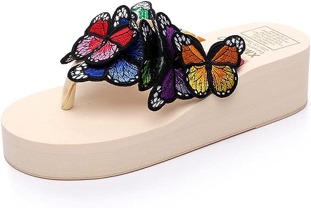 Ckrola Women Butterfly Platform Flip Flops Bohemia Summer Beach Thick Bottom Anti-Slip Thong Wedge Sandals …