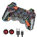 Controller PS3, Joystick Playstation 3, Wireless PS3 Controller Doppio Shock Gamepad Compatibile per Playstation 3, Gamepad Ergonomico con Caricabatterie e Impugnature Pollice, 2021 Versione Graffiti