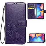 Galaxy A10E Wallet Case, [Flower Embossed] Premium PU Leather...