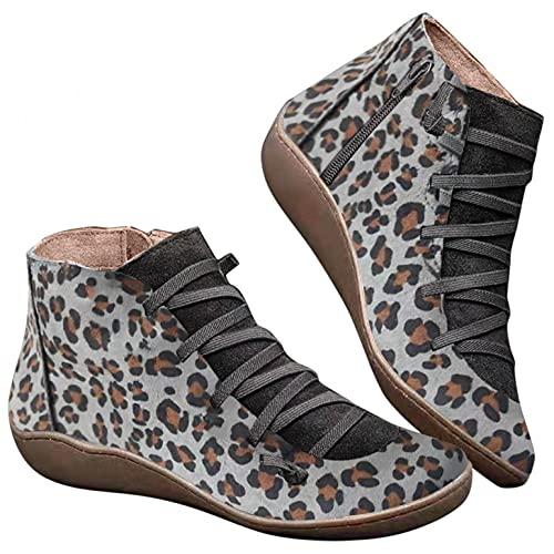 RTPR Botas Leopard para mujer, para la nieve, para otoño, invierno, planas, con cordones, vintage, cómodas, cortas, elegantes, informales, de alta calidad, gris, 41 EU