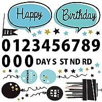 誕生日☆シール式ウォールステッカー 誕生日 birthday 飾り 30×30cm ケーキ ガーランド バースデーパーティ飾り 風船 バルーン お祝い 吹き出し モノトーン 風船 017307