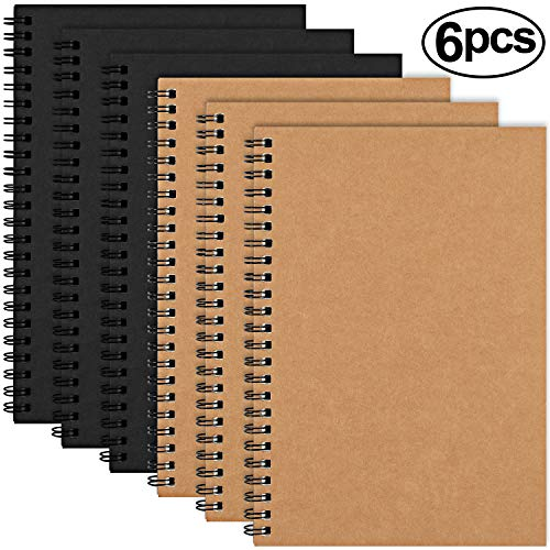 EOOUT Soft Cover Spiral Notebook Journal, 6 Pack Blank Sketch Book Pad, Diary Notebook Planner with Blank Paper, 100 Pages/ 50 Sheets, 5 x 8 inches (Brown and Black)