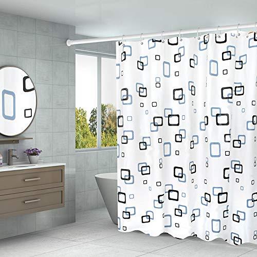 Aistuo Duschvorhang 180 x 200 Transparent,PEVA Wasserdicht, Halb-transparent Klar, Anti Schimmel, PVC-frei Umweltfre&lich Waschbar mit 12 Ringe (Quadrat)