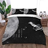Tomifine Juego de cama 3D con estampado de astronautas creativo, funda nórdica de 135 x 200 cm + funda de almohada de 80 x 80 cm, fibra de poliéster hipoalergénica (patrón de 5200 x 200 cm)
