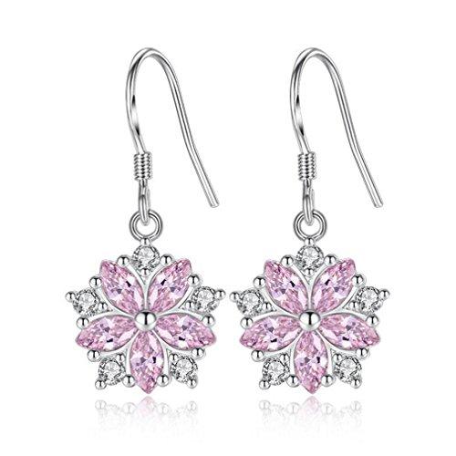 Wiftly Earrings Ear Hook Earrings 925 Sterling Silver Pink Crystal Micro Zirconia Cherry Blossom Flower Earrings for Women Girls Birthday Festival Gift