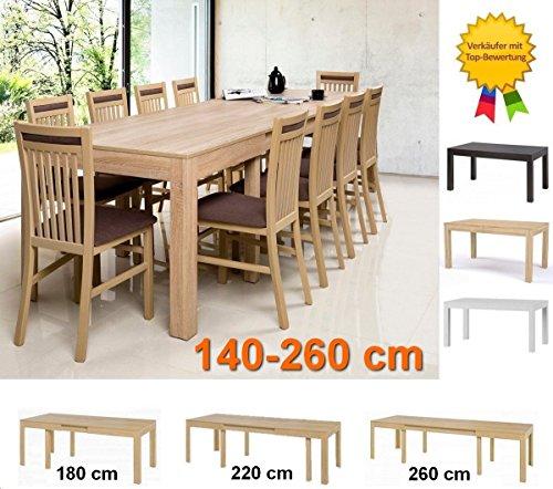 Furniture24 WENUS eu Tisch Küchentisch Esszimmertisch Esstisch Ausziehbar bis 260 cm !!! (Sonoma...