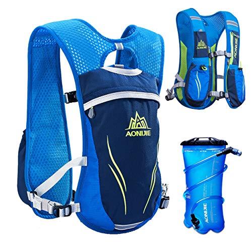 TRIWONDER Trinkrucksack Rucksack 5.5L im Freien Mochilas Trail Marathoner Laufrennen Trinkweste (Blau - mit 2L TPU Wasserblase)
