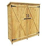 Wiltec Gartenhaus 2-flügelige Tür 1350x500x1540mm aus Fichtenholz mit Bitumendach
