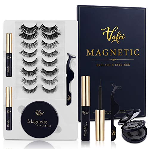 Magnetic Eyelashes with Eyeliner, 10 Pairs Magnetic eyelashes, Magnetic Eyeliner and Magnetic Eyelash Kit - No Glue Needed, with Tweezers and Mirror Box Easy to Carry, Vafee