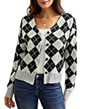 Women Argyle Plaid Sweater V Neck Cover Up Long Sleeve Loose Cardigan fow Winter