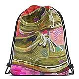 ATUEMACO Zapato Original Pintura Digital Sobre Alfombra Mochila con cordón Bolsas de playa Gimnasio Natación Deportes Cuerda Mochilas Bolsa Bolsa de almacenamiento a granel