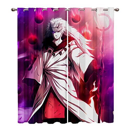 Naruto Cortinas Opacas 2X 116x137cm(WxH) - 3D Impresión Digital Cortinas Aislantes Térmicas - Cortinas Perforadas Sala de Estar Cortinas Opacas