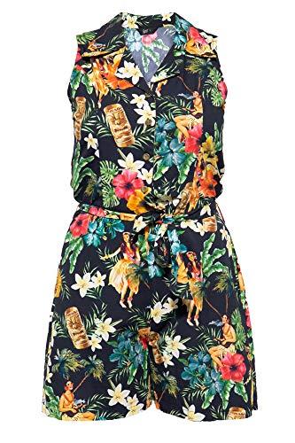 Queen Kerosin Vintage Mambo Jumpsuit voor dames, met tropische all-over print, overall, bingriem en steekzakken