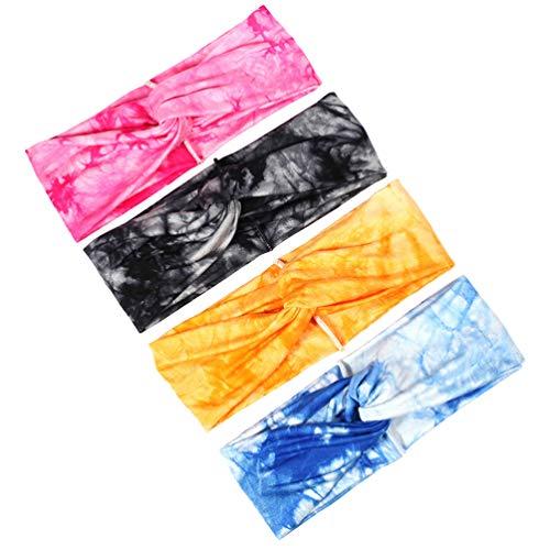 Beaupretty 4 Pcs Bandeaux Boho Croix Tête Wrap Bande de Cheveux Élastique Turbans Torsion Bandeaux pour Femmes Yoga Course (Jaune Bleu Noir Et Rose)