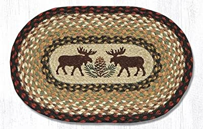 VHC Brands 51830 Rustic Tabletop Kitchen Shasta Cabin Moose Jute Stenciled Nature Print Oval 8x24 Runner Tan