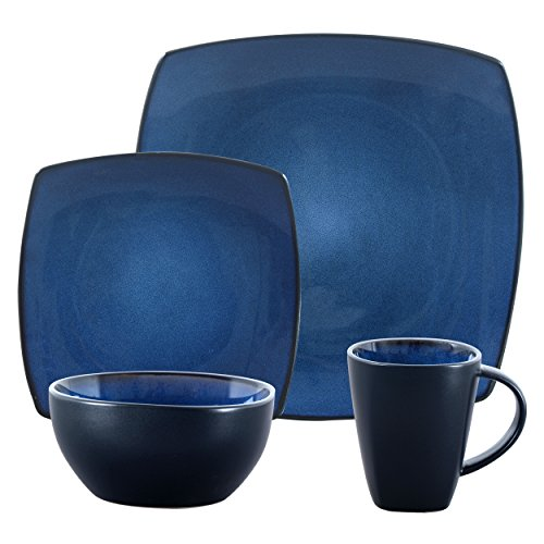 Gibson Elite Soho Lounge Reactive Glaze Stoneware Dinnerware set, Bella, Blue