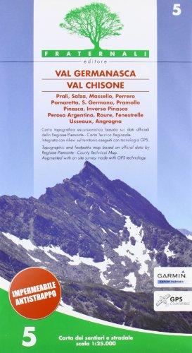 Carta n. 5. Val Germanasca val Chisone. Carta dei sentieri e stradale 1:25.000