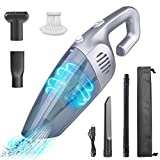 Hand Vacuum Suction Lightweight Mini Dust Vacuum Wet Dry Hand Held Quick Charge Tech 2200mAh Portable with HEPA Filter Hand Vac for Home Pet Hair Car Office Cleaning Grey Long Time Use Sturdy
