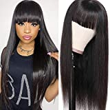 Liwihas Silky Brazilian Virgin Straight Human Hair Wigs with Bangs 130% Density None Lace Front Wigs Glueless Machine Made Wigs for Black Women Natural Color (26inch, Straight Wigs)