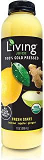 O2 Living Juice Fresh Start Organic Cold-Pressed, No Sugar or Water Added, Made with Lemon, Apple, and Ginger, Loaded with Nutrients, Vitamins, Enzymes, and Minerals (18-Pack)