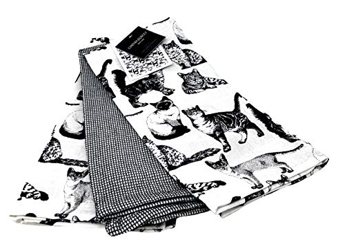 Truly Lou Cynthia Rowley Shaded Black/White Cute Cats, Kittens Set of 3 100% Cotton Kitchen Hand Tea Towels 20 x 28 in