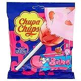 Chupa Chups Lecca Lecca Bubblegum, Maxi Lollipop Gusto Ciliegia con Ripieno Big Babol, 6 Confezioni da 8 Lollipops Monopezzi