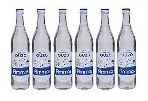 6x Ouzo Ammos 700ml 37,5% Gatsios griechischer leichter milder Uso Ouxo Tresterbrand Trester Schnaps