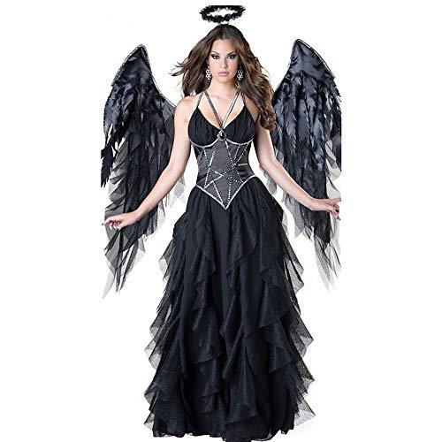 Costume di Halloween per donna Costume da angelo sexy scuro Costume da costume da angelo nero Costume da festa di Halloween Cosplay da festa in maschera ( Colore : Nero , Dimensione : Taglia unica )