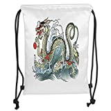 Fevthmii Drawstring Backpacks Bags,Japanese Dragon,Far Eastern Water Dragon Splashing Waves Legend Creature,Pale Green Vermilion <span class='highlight'>Sage</span> Soft Satin,5 Liter Capacity,Adjustable String Closure,T