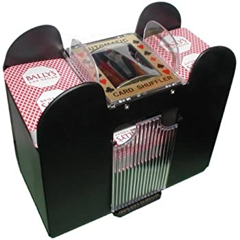 Playing Card Shuffler, Automatic Battery Operated 6 Deck Casino Dealer Travel Machine Dispenser by Trademark Poker, Black