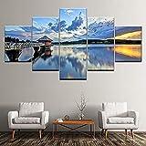 5 Gemälde auf Leinwand Leinwand Gemälde Himmelblau und Weiß Seaside Cabin 5 Stücke Wandkunst Malerei Modular Papers Gemälde Poster Print Home Decor-Outer frame
