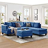 Harper & Bright Designs Sectional Sofa with Chaise Lounge and Ottoman 3-Seat Sofas Couch for Living Room (Sea Blue)
