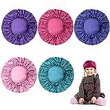 KONUNUS 5 Packs Satin Bonnet Cap Adjustable Kids Satin Bonnets Sleeping Caps Kids Hair Bonnet for Kids Girls Men Women (Purple, Blue green, Blue, Rose red, Pink)
