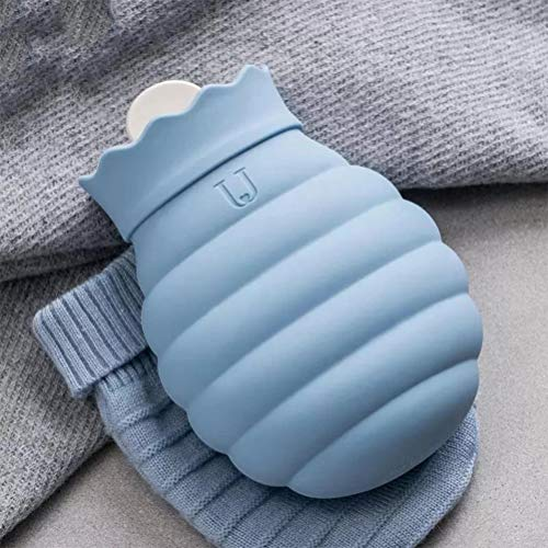 Macabolo Wärmflasche mit Strickbezug, mikrowellenheizung, Silikon-Wärmflasche, Winter-Hand-Fußwärmer für Kinder, Mädchen und Frauen