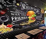 Europa Y Los Estados Unidos Pintado A Mano Hamburguesa Snack Bar Fondo Pintura Mural-W350xH245cm