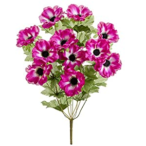 19″ Silk Anemone Flower Bush -Orchid (Pack of 12)