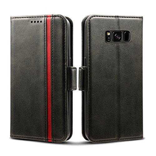 Rssviss Galaxy S8 Hülle, Samsung Galaxy S8 Handyhülle [3 Kartenfächer ] Tasche Leder Schutzhülle mit [Magnetverschluss ] für Samsung Galaxy S8, 5.8 Zoll,Schwarz (W5)