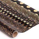 RUSPEPA Geschenkpapier Roll - Black Und Goldfolienmuster Für Hochzeit