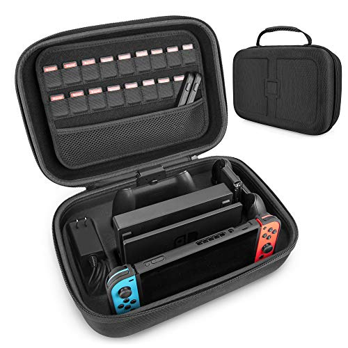 Carrying Storage Case for Nintendo Switch, LP Portable Travel Case Protective Hard Shell Bag with Separate Storage Space for Switch Console, Pro Controller, Switch Dock, AC Adapter Cable & Accessories