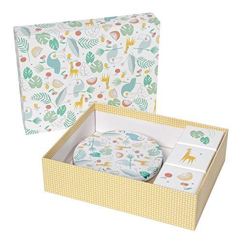 Baby Art Gift Box, Geschenk-Set inkl. 1x Magic Box, DIY Gipsabdruck Set für Baby Handabdruck oder Fußabdruck, sowie 3x kleinen Design Geschenkboxen, Toucans Limited Edition von Mr. & Mrs. Clynk