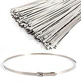 100 uds Bridas para cables Bridas de acero inoxidable Bloqueo Metal Cable Ties (500mm)