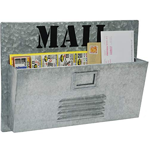 "Excello Global Products Metal Mail Organizer: Vintage Distressed Mailbox, Antique Metal Wall Mounted Storage Holder (11""x15.75"")"