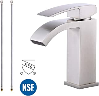 KES Bathroom Faucet Single Handle One Hole Vanity Sink Faucet cUPC NSF Certified Lead Free Brass Construction, Brushed Nickel L3109ALF-BN