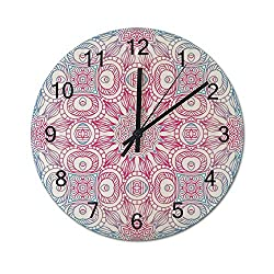 Wooden Wall Clock Round 15 Inch Non-Ticking Silent Battery Operated Moroccan Paisley Nostalgic Damask Pink Blue Pattern Frameless Hanging Clocks Decorative for Living Room Bedroom Kitchen School